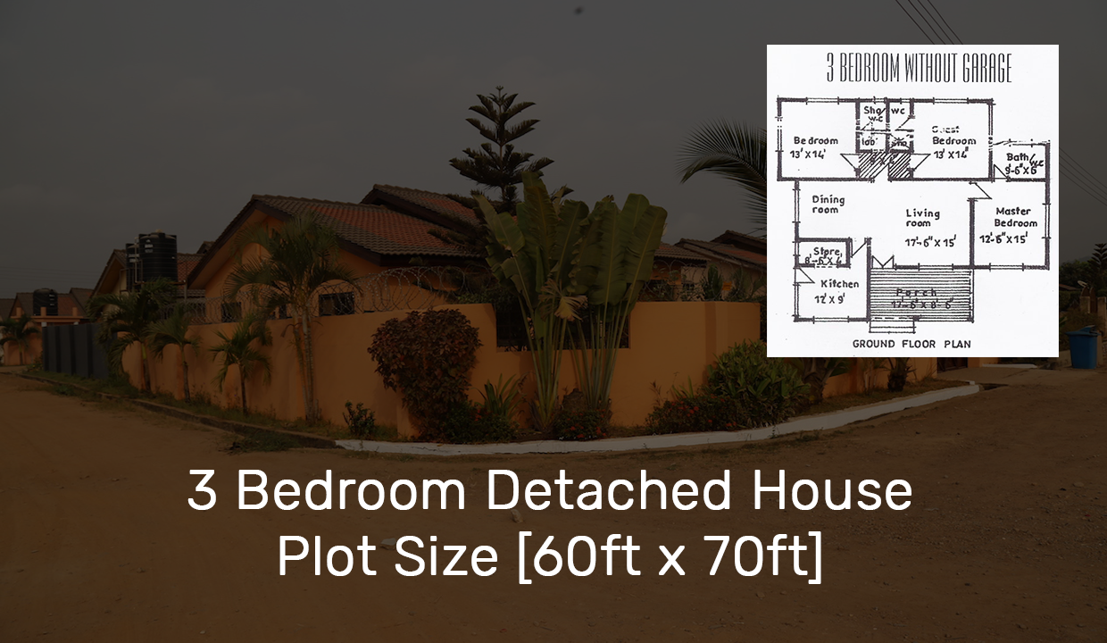 3 Bedroom Detached House Plot Size [60ft x 70ft]